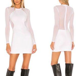 superdown Lucy Sheer Back Mini Dress in White